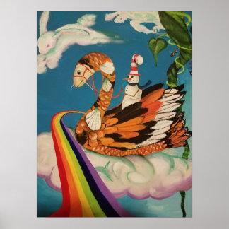 Poster affiche de cygne de koi