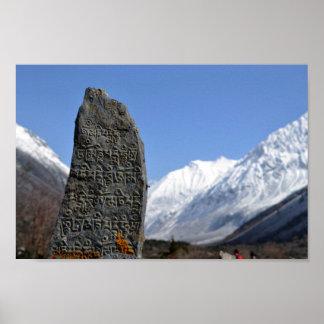 Poster Affiche de découpage en pierre népalaise d'Everest