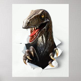 Poster Affiche de dinosaure de Velociraptor