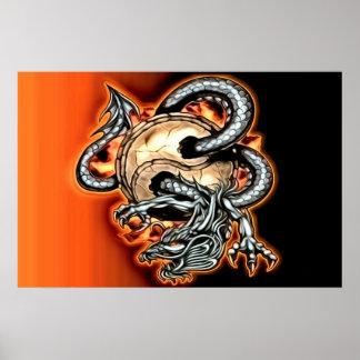 Poster Affiche de dragon de Yin Yang