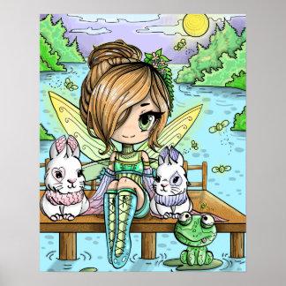 Poster Affiche de fée de fille de Chibi