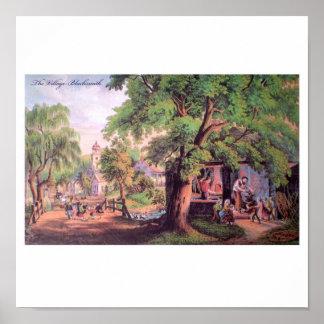 Poster Affiche de forgeron de village