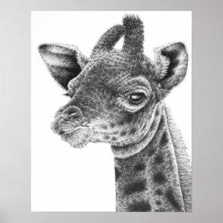 Poster Affiche de girafe de bébé