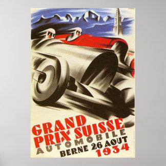 Poster Affiche de Grand prix de 1934 Suisses