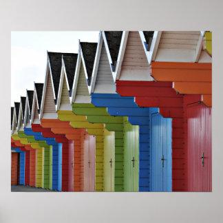 Poster Affiche de huttes de plage de Scarborough