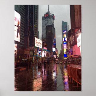 Poster Affiche de jour pluvieux du Times Square NYC New