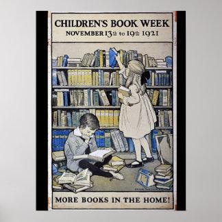 Poster Affiche de la semaine du livre de 1921 enfants
