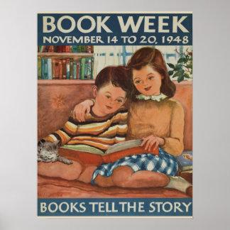 Poster Affiche de la semaine du livre de 1948 enfants