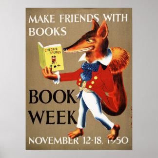 Poster Affiche de la semaine du livre de 1950 enfants