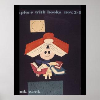 Poster Affiche de la semaine du livre de 1958 enfants