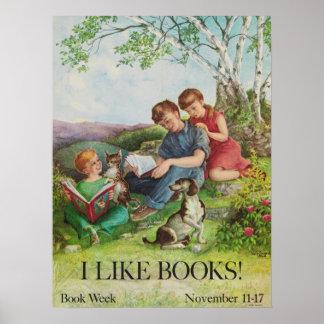 Poster Affiche de la semaine du livre de 1962 enfants