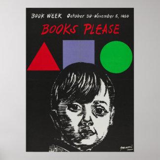Poster Affiche de la semaine du livre de 1966 enfants