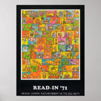 Poster Affiche de la semaine du livre de 1971 enfants