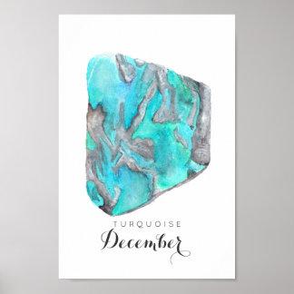 Poster Affiche de l'aquarelle | de turquoise de pierre