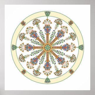 Poster Affiche de mandala de Nouveau Lotus d'Egyptien
