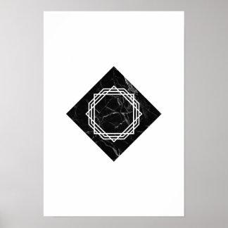 Poster Affiche de marbre noire géométrique