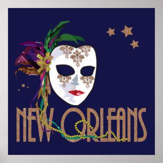 Poster Affiche de masque de la Nouvelle-Orléans de