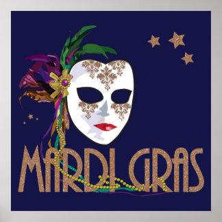 Poster Affiche de masque de mardi gras de damassé