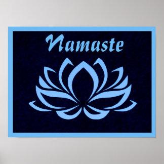 Poster Affiche de mur de Lotus bleu Namaste