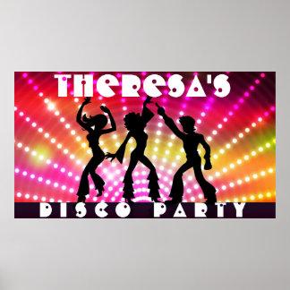 Poster Affiche de mur mitoyen de soirée dansante de disco