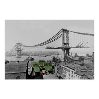 Poster Affiche de New York de pont de Manhattan