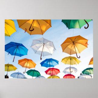 Poster Affiche de parapluies