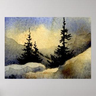 """Poster Affiche de paysage de la """"aube #1"""""""