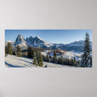 Poster Affiche de paysage d'hiver d'Alpe di Siusi