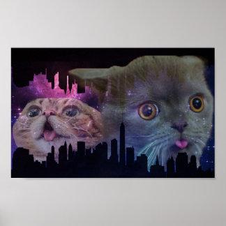Poster Affiche de paysage urbain de chats de galaxie