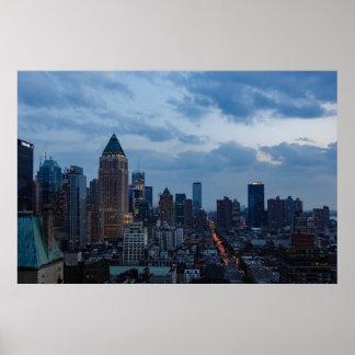 Poster Affiche de paysage urbain de crépuscule de
