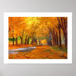 Poster Affiche de peinture de paysage d'automne