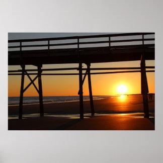Poster Affiche de plage de coucher du soleil