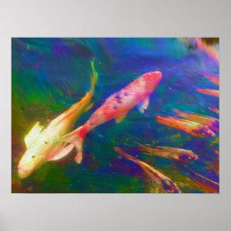Poster Affiche de poissons de Koi