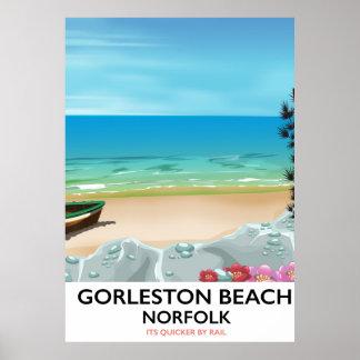 Poster Affiche de rail de la Norfolk de plage de