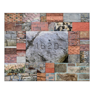 Poster Affiche de roches et de briques de Plymouth
