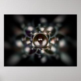 Poster Affiche de rotation foncée de haut-parleur de