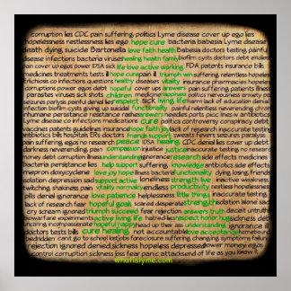 Poster Affiche de sentiments de la maladie de Lyme, nié,