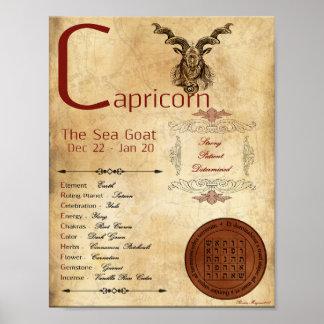 Poster AFFICHE de signe de naissance de CAPRICORNE de