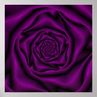 Poster Affiche de spirale de rose de pourpre