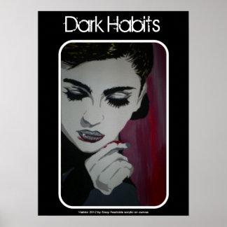 """Poster Affiche de vampire """"d'habitudes foncées"""""""