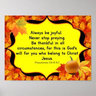 Poster Affiche de vers de bible d'automne de thanksgiving