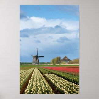 Poster Affiche de verticale de moulin à vent et de