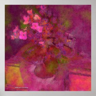 Poster Affiche de violettes africaines