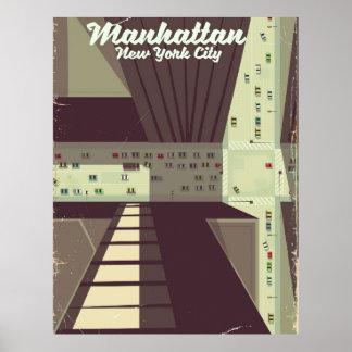 Poster Affiche de voyage de Manhattan New York City