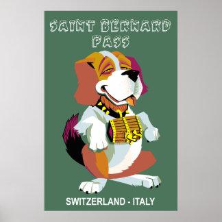 Poster Affiche de voyage de passage de St Bernard