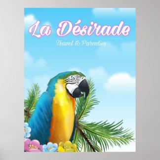 Poster Affiche de voyage de perroquet de Désirade de La