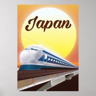 Poster Affiche de voyage de train de balle du Japon