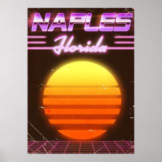 Poster Affiche de voyage des années 1980 de Naples la