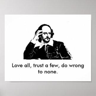 Poster Affiche de William Shakespeare