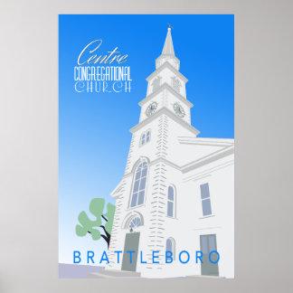 Poster Affiche d'église en assemblée de centre rétro